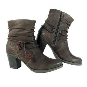 TAMARIS Brown Suede Ankle Tie Heeled Boots Booties